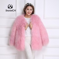 2017 New Genuine Mongolia Sheep Fur coat Women full pelt Sheep Fur Jacket fur Waistcoats make Big Size Free Shipping F860
