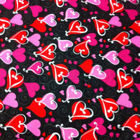 Looped Hearts on Black Cotton Fabric - Sewing Craft supplies