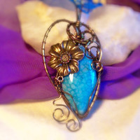 Wire Wrapped Blue Dragons Vein Agate Vintage Bronze Flower Swirls Necklace Pendant