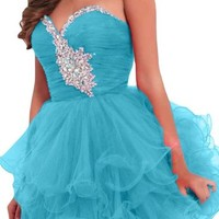 Angel Bride Mini Sweetheart Ruffles Tulle Party Cocktail Homecoming Dresses