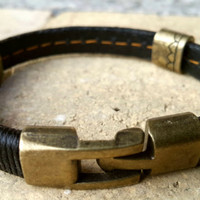 FREE SHIPPING-Mens Leather Bracelet, Woman Leather Jewelry, Brown Leather, Secure Bronze Clasp, Leather Bracelet