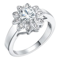 18K White Gold Plated Flower White Crystal Cocktail Ring - Size 8