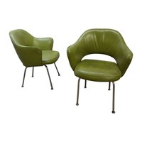 Pre-owned Eero Saarinen Green Executive Armchairs - A Pair