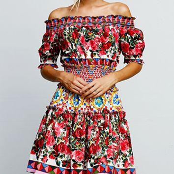 Ready To Soar Red Pink White Blue Yellow Green Floral Geometric Off The Shoulder Elastic Smocked Waist Mini Dress
