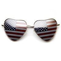 Heart Shape American Flag USA Patriotic Womens Metal Sunglasses