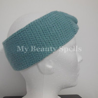 Women Knit headbands, knitted ear warmers, turban head band, hand crocheted Winter head bands, Color Sky Blue