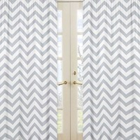 Chevron Gray and White Window Panel Curtains