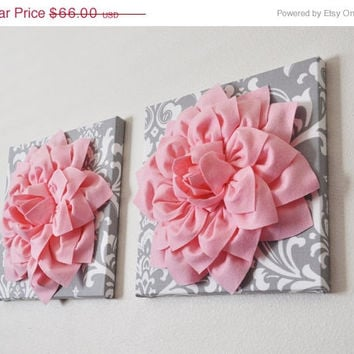 """MOTHERS DAY SALE Two Wall Flowers -Light Pink Dahlia on Gray and White Damask 12 x12"""" Canvas Wall Art- Baby Nursery Wall Decor-"""