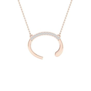 10k Rose Gold Round Diamond Initial C Letter Necklace 1/20 Cttw