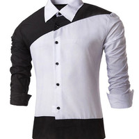 Color Block Long Sleeves Button Down Shirt