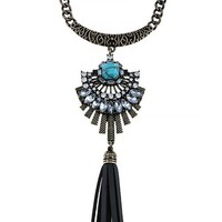 FAUX STONE JEWELED TASSLE NECKLACE