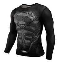 Men's T-shirt Super Heroes Avenger Batman T shirt Men Compression Armour Base Layer Black Long Sleeve Thermal Under Top Fitness