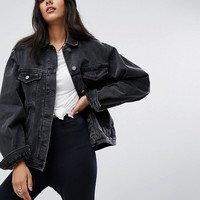 ASOS TALL Denim Girlfriend Jacket in Washed Black at asos.com