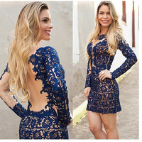 SIMPLE - Lace Sexy blue Floral Long Sleeve Clubbing Party One Piece Dress b97