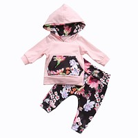 Autumn Winter Infant born Baby Girls Clothes Pocket Patchwork Hooded Tops Floral Leggings Outfit Baby Clothing Set