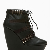 Qupid Gold Accent Platform Lace Up Booties