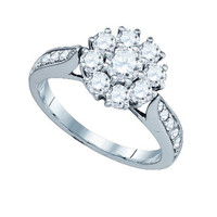 Diamond Flower Ring with 0.40ct Center Round Stone in 14k White Gold 1.51 ctw