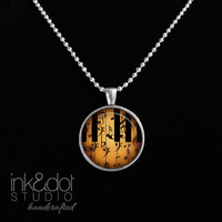Piano Keys & Music Notes Glass Pendant Necklace