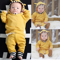 Infant Baby Boy Girl Clothes Newborn Infant Bebek Hooded Sweatshirt Tops+Pants 2pcs Outfits Tracksuit Kids Clothing Set