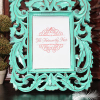 Amazing wood ornate frame // ornate picture frame // carved frame //  Unique frame // Gift Frame // Beach theme // 5x7 frame