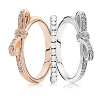 Hot Trendy 100% Real 925 Sterling Silver Two-Tone Bow Ring Stack For Women Wedding Engagement Birthday Gift Fine Pandora Jewelry