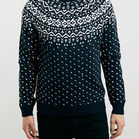NAVY/WHITE NORDIC SWEATER - Men's Cardigans & Sweaters - Clothing - TOPMAN USA