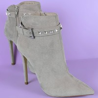 Suede Studded Buckled Strap Pointy Toe Stiletto Ankle Boots