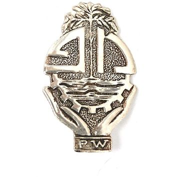 Vintage Sterling Brooch PW Mexico Aztec Style
