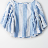 AE Ruffle Bell Sleeve Top, Light Blue