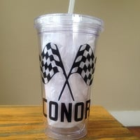 Personalized Checkered Flag Racing Themed  Double Walled Tumbler