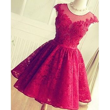 Short Lace Prom Dress, Homecoming Dresses, Graduation School Party Gown, Winter Formal Dress, DT0249