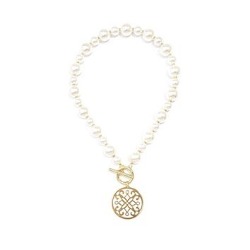 Ornate Pendant Chunky Pearl Necklace
