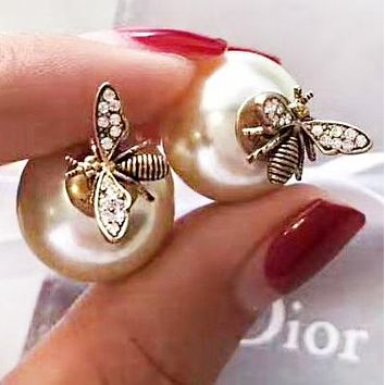 DIOR Fashion New Pearl Diamond Bee Long Earring Women Accessories