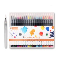 20pcs Brush Calligraphy Pen Sketch Drawing Watercolor Marker Set For School Children Painting Waterbrush Artist Supplies