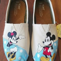 Polka Dot Minnie Mouse and Mickey Mouse Custom TOMS (Classic Disney Pictured)