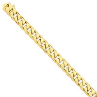 14k Yellow Gold 9.80mm Men Flat Beveled Curb Chain Necklace - Fine Jewelry Gift