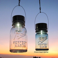 Country Cabin Lantern Decor Hanging Mason Jar Solar Lights, Outdoor Lake Cabin Country Home Upcycled Ball Jar Solar Lights with Hangers