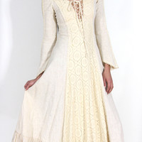 Vintage 1960s Gunne Sax Ivory Maxi Dress With Lace Panel