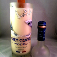 Repurposed 1L Grey Goose Voka bottle Candle with scented Wood wick