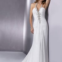 White & Pewter Gathered Chiffon Halter Low Back Reese Wedding Dress - Unique Vintage - Cocktail, Pinup, Holiday & Prom Dresses.