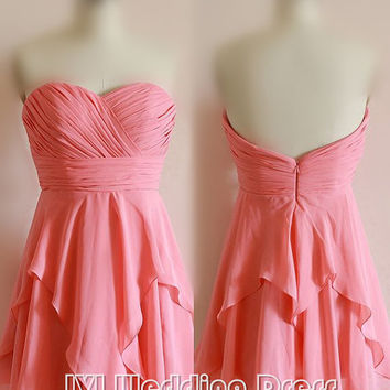 Short Pink Graduation Dress, Knee Length Homecoming Dress, Pleated Tiered Prom Dress