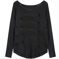 Black Sheared Ribbed Trim Knit Sweater