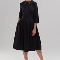Little black dress Peter pan collar dress Pleated skirt dress Midi dress Plus size dress 50s Tea length dress Italian wool dress Handmade