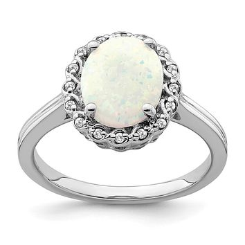 14k White Gold Created Opal and Real Diamond Halo Ring