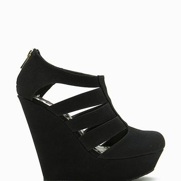 Chase Cut Out Closed Toe Zip Back Wedge