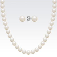 6.5mm Cultured Freshwater Pearl Necklace and Earrings Set (24 in.)