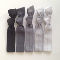 The Silver Black Ombre Hair Tie Collection  5 by ElasticHairBandz