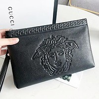 Versace Fashion new human head leather cosmetic bag file package handbag Black
