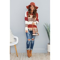 Dream Of Me Distressed Sweater (Rust Mocha)