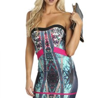 Print Bandage Dress Teal